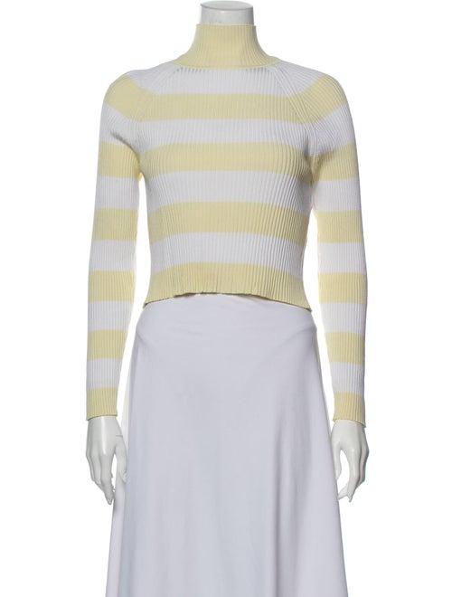 Zimmermann Striped Turtleneck Sweater White