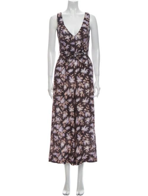 Zimmermann Linen Floral Print Jumpsuit Grey