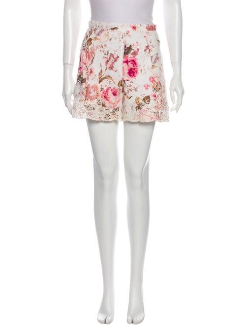 Zimmermann Floral Print Mini Shorts White
