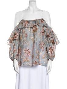 Zimmermann Floral Print Off-The-Shoulder Blouse
