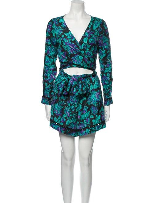 Zimmermann Silk Floral Print Romper Blue - image 1