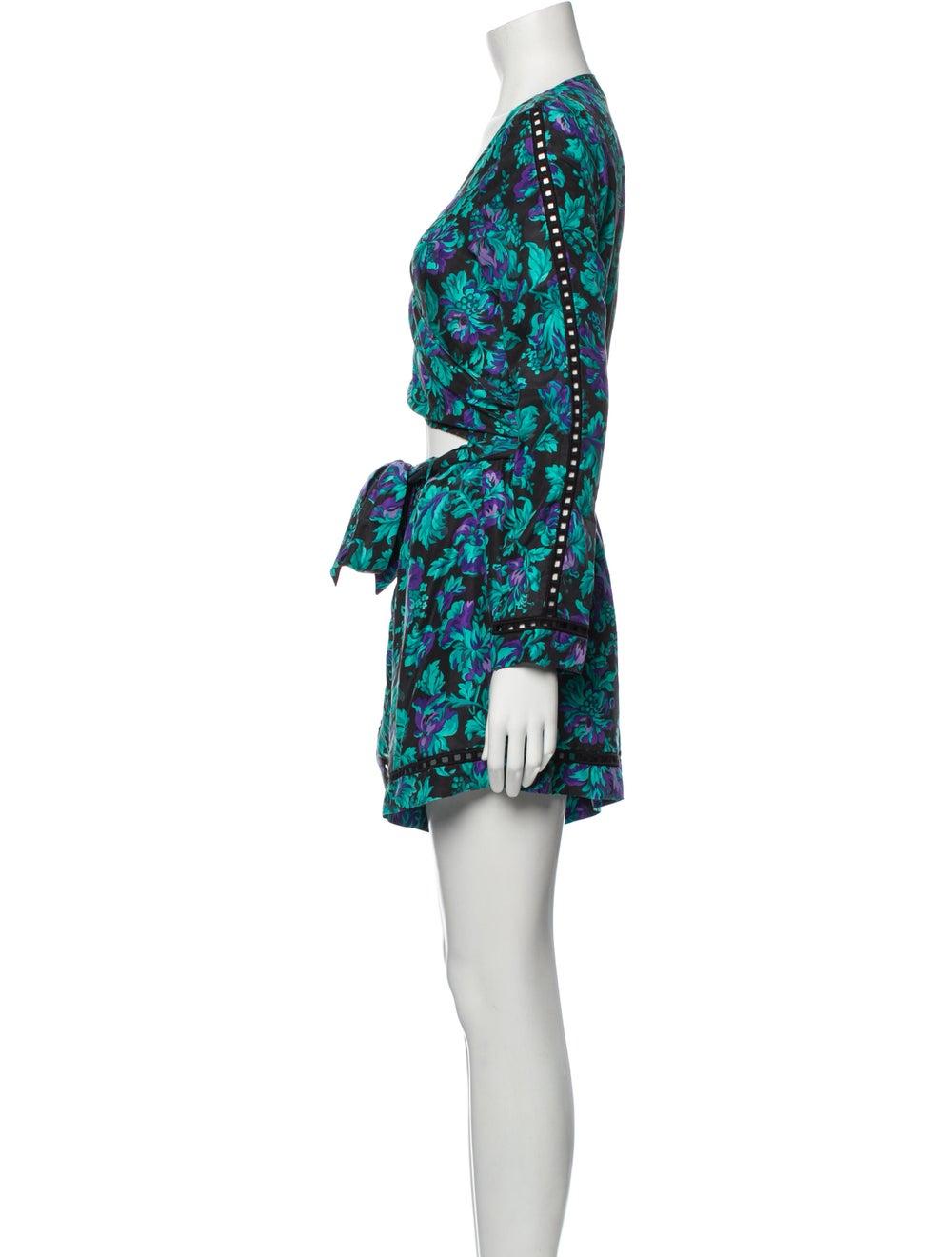 Zimmermann Silk Floral Print Romper Blue - image 2