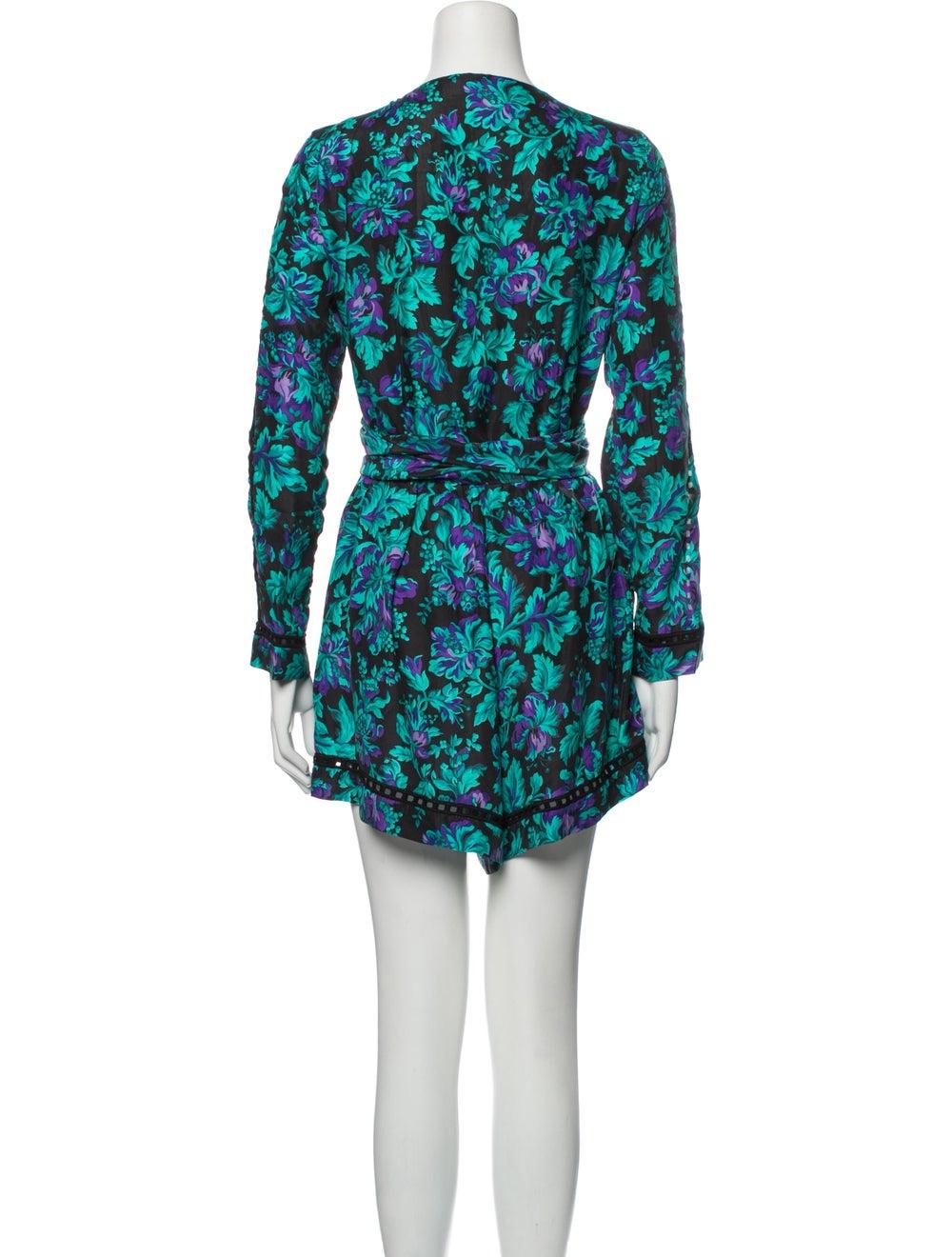 Zimmermann Silk Floral Print Romper Blue - image 3