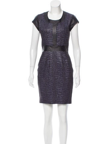 Z Spoke by Zac Posen Leather-Accented Textured Dress None