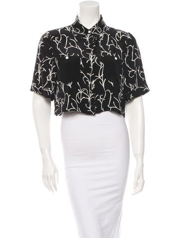Tanya Taylor Cropped Button-Up Top w/ Tags None