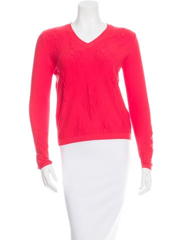 Tanya Taylor Appliqué-Accented Long Sleeve Sweater None