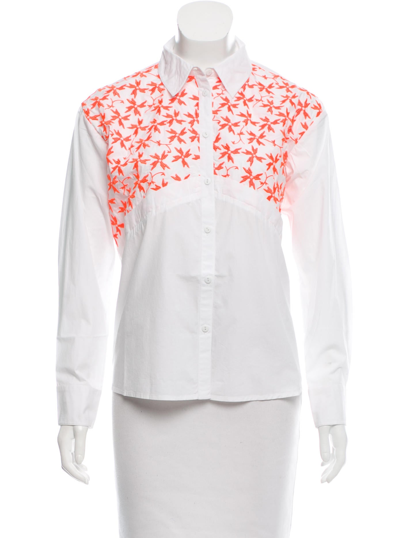 Tanya taylor embroidered button up top w tags clothing