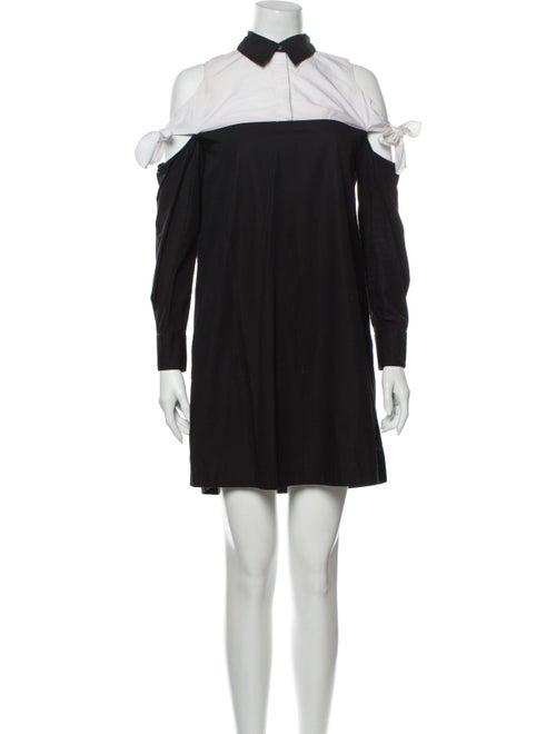 Tanya Taylor Colorblock Pattern Mini Dress Black