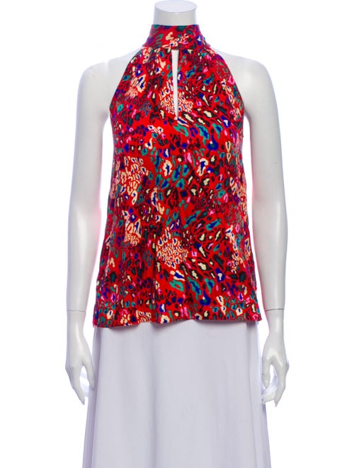 Tanya Taylor Silk Animal Print Blouse Red