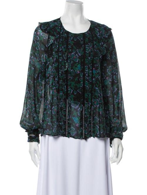 Tanya Taylor Silk Floral Print Blouse Green