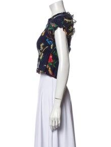 Tanya Taylor Floral Print Square Neckline Crop Top