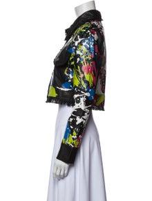 Jkt  NYC Jkt NYC Leather Floral Print Denim Jacket