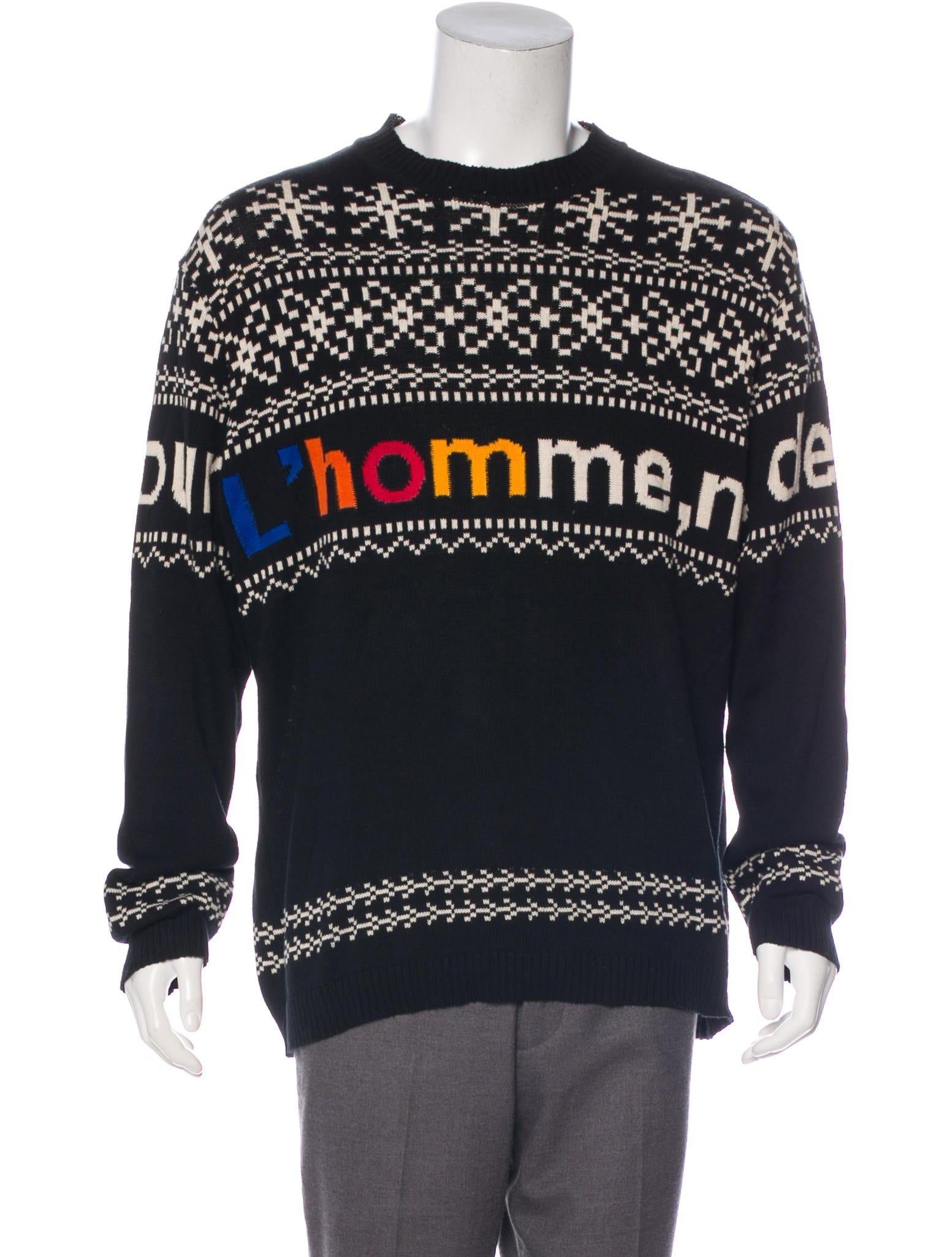 YOHJI YAMAMOTO POUR HOMME Knit Sweater Black Size 3 Cotton Authentic Men USED