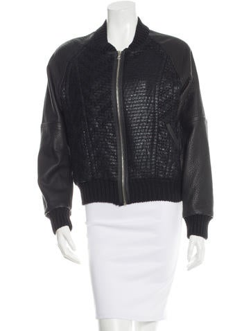 Knit Leather Sleeves Bomber