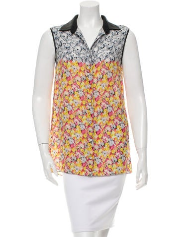 Yigal Azrouël Floral Print Sleeveless Top None