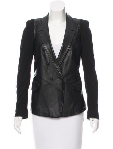 Yigal Azrouël Leather Rib Knit-Trimmed Jacket None