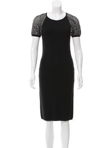 Yigal Azrouël Open Knit-Paneled Sheath Dress None