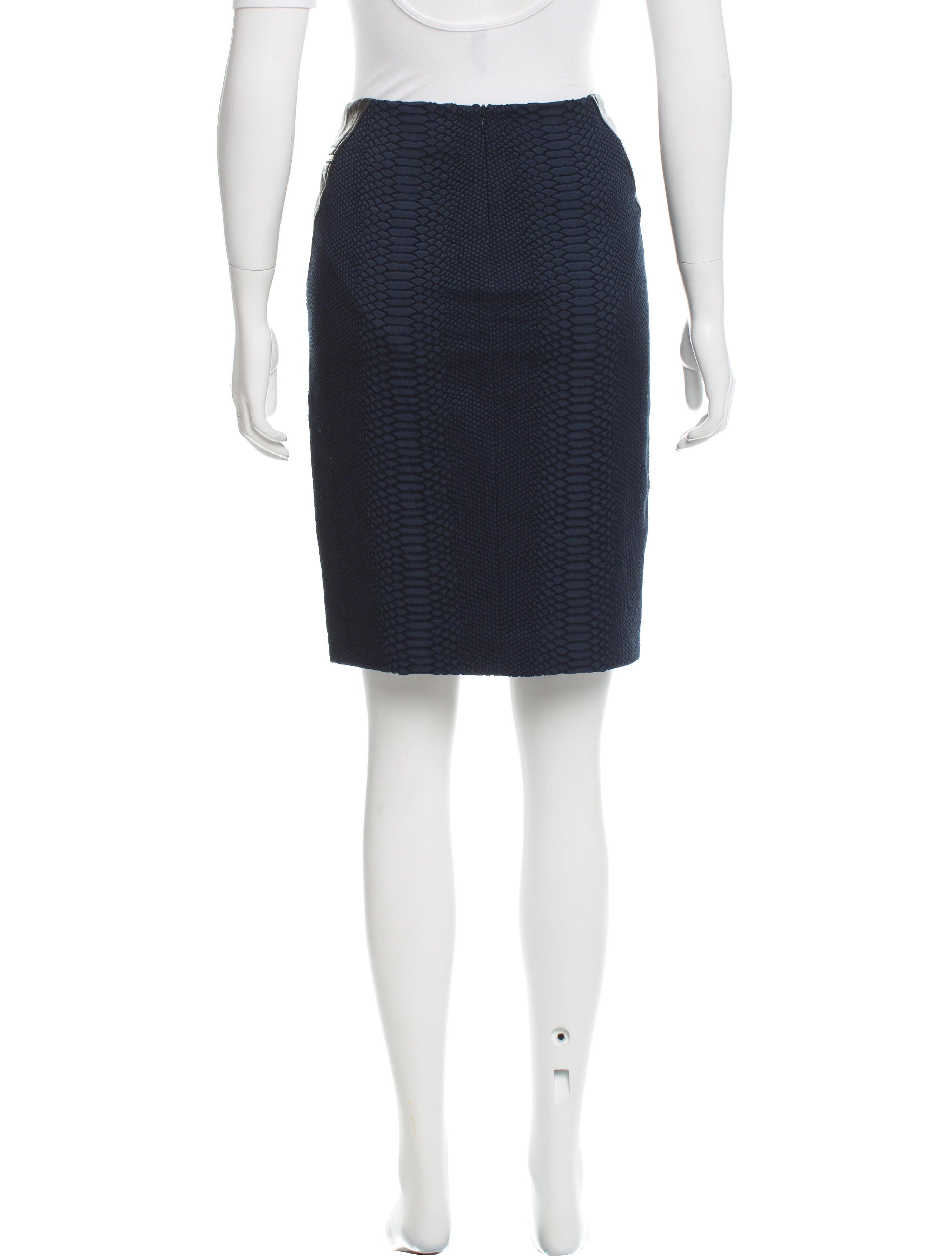 yigal azrou 235 l leather paneled knee length skirt clothing