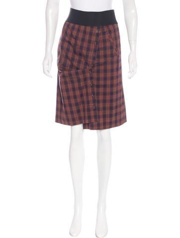 yigal azrou 235 l plaid knee length skirt clothing