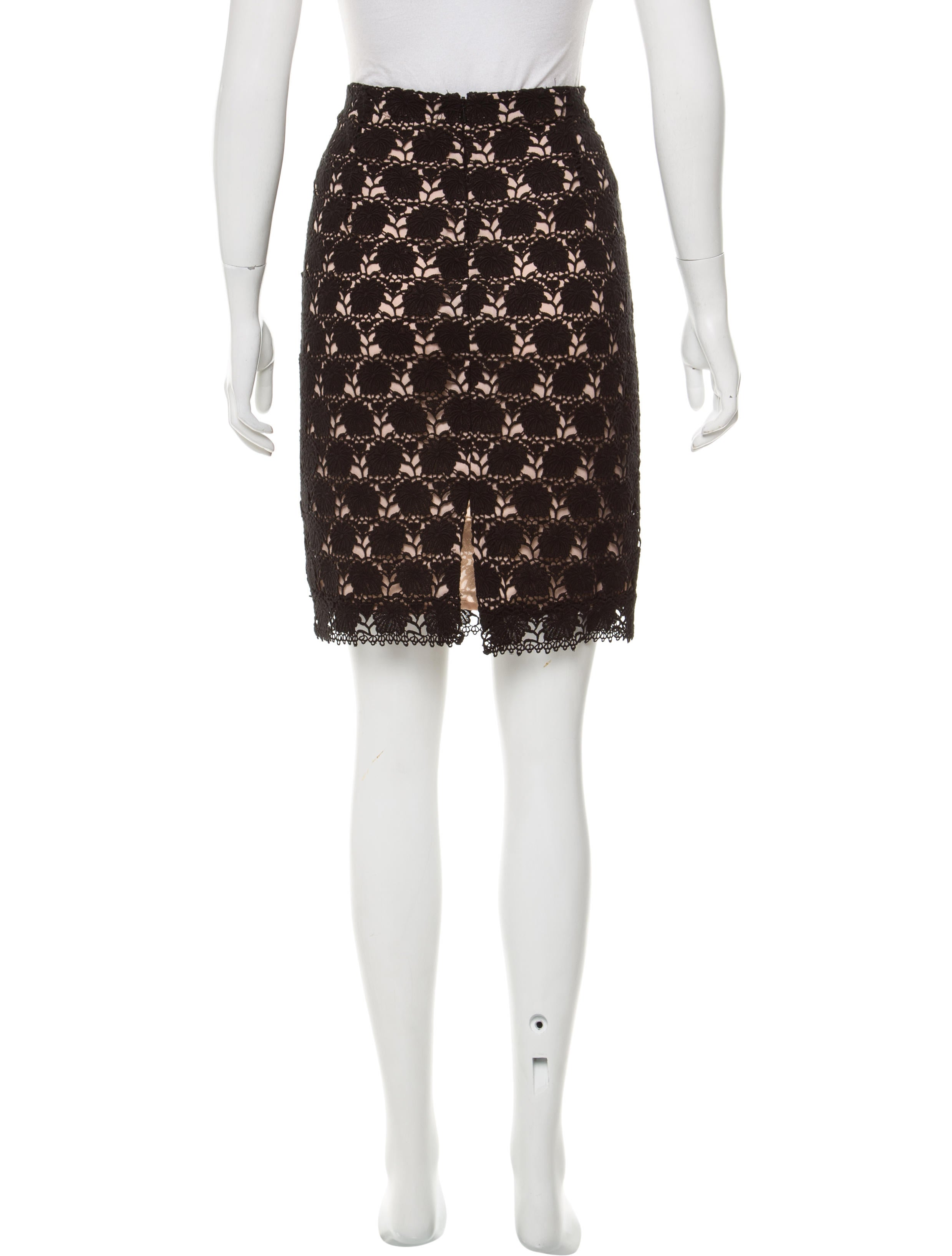 yigal azrou 235 l guipure lace knee length skirt clothing