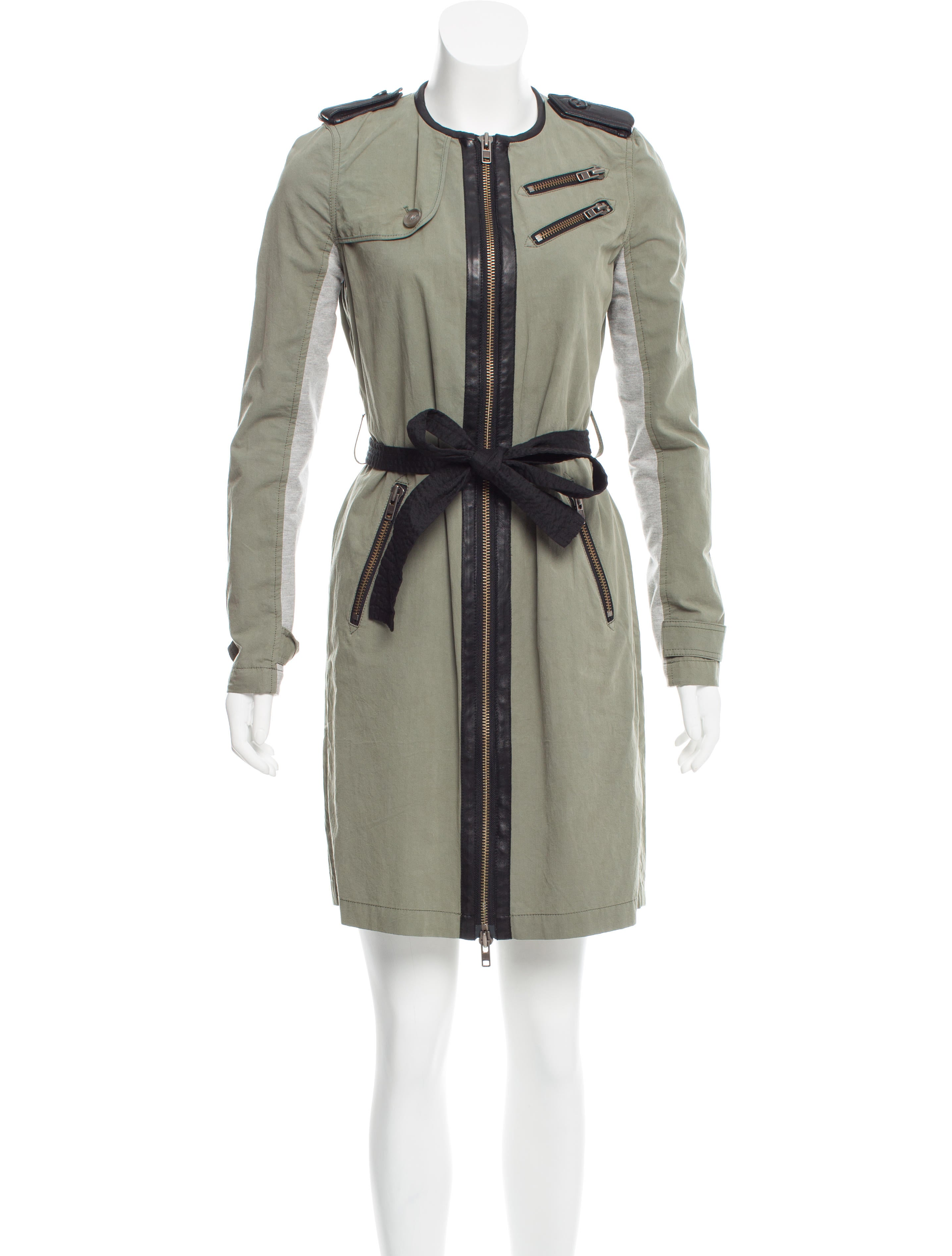 yigal azrou 235 l leather trimmed belted jacket clothing