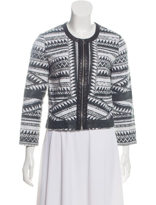 Yigal Azrouël Patterned Leather-Trimmed Cardigan G