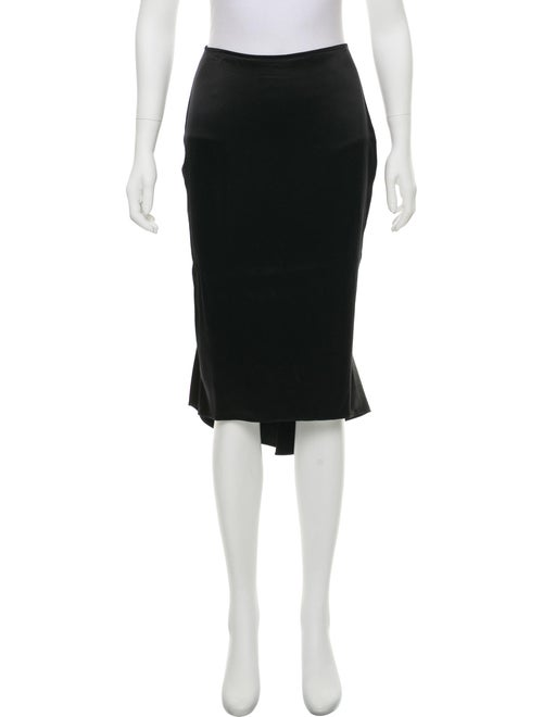 Yigal Azrouël Silk Midi Slip Skirt Black