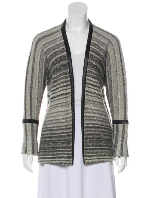 Yigal Azrouël Leather-Trimmed Open Front Cardigan
