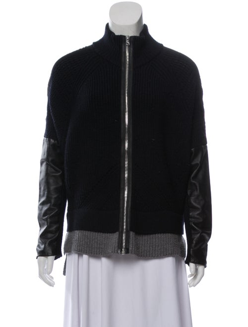 Yigal Azrouël Leather-Trimmed Wool Cardigan Navy