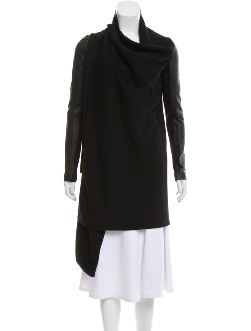 Yigal Azrouël Leather-Accented Knit Cardigan Black