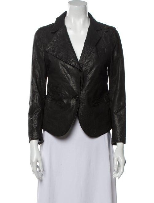 Yigal Azrouël Leather Blazer Black