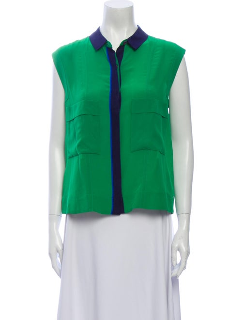 Yigal Azrouël Silk Sleeveless Button-Up Top Green