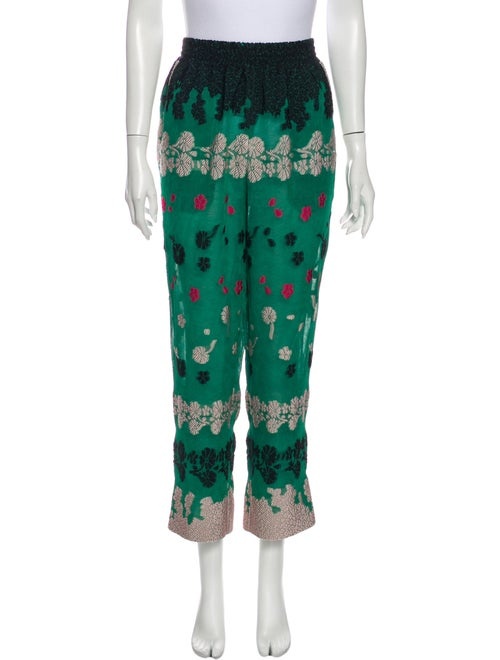 Yigal Azrouël Printed Straight Leg Pants Green