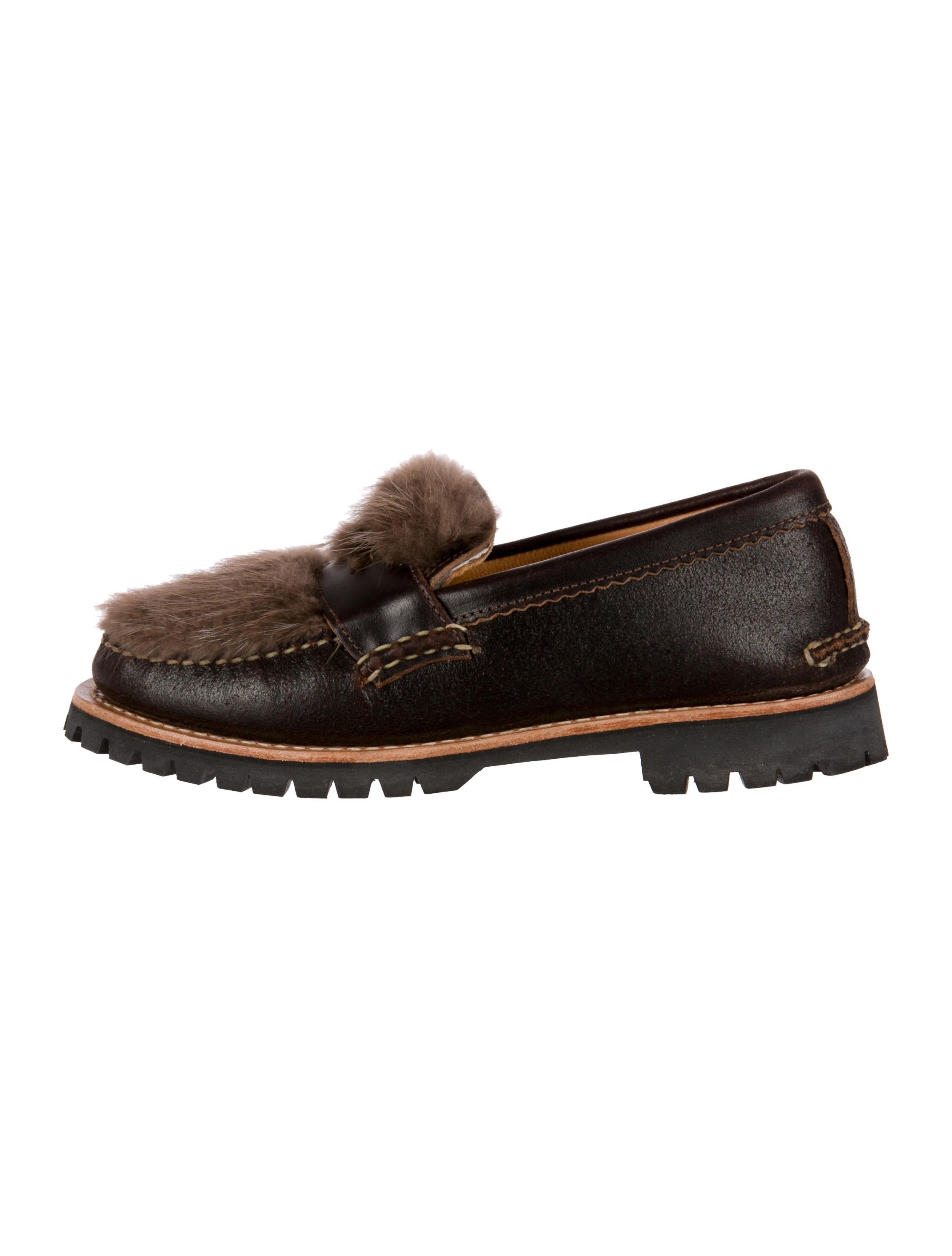 6aa086bf8c0 Yuketen Fur-Trimmed Penny Loafers - Shoes - YKT20017