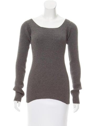 Yohji Yamamoto Rib Knit Square Neck Sweater None