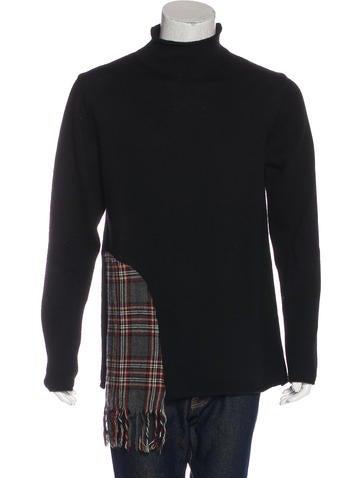 Yohji Yamamoto Plaid-Accented Wool Sweater None