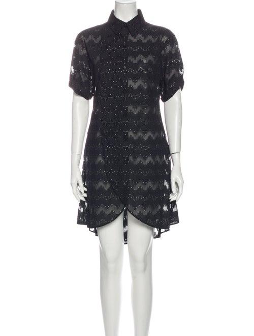 Yohji Yamamoto Lace Pattern Mini Dress Black