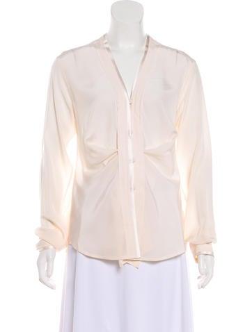 Yves Saint Laurent Rive Gauche Silk Button-Up Top None