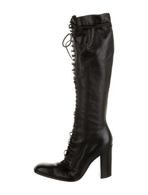 Yves Saint Laurent Rive Gauche Leather Lace-Up Boo