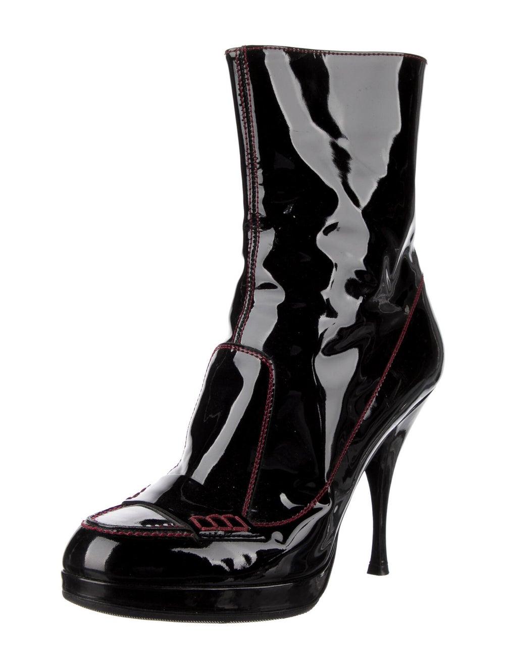 Yves Saint Laurent Rive Gauche Patent Leather Boo… - image 2