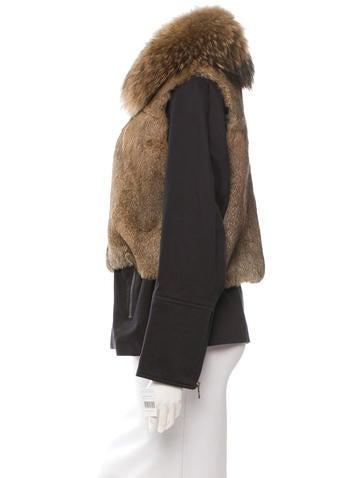 Fox-Trimmed Rabbit Jacket w/ Tags