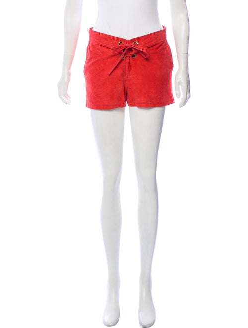 Yves Salomon Suede Mid-Rise Shorts Terracotta