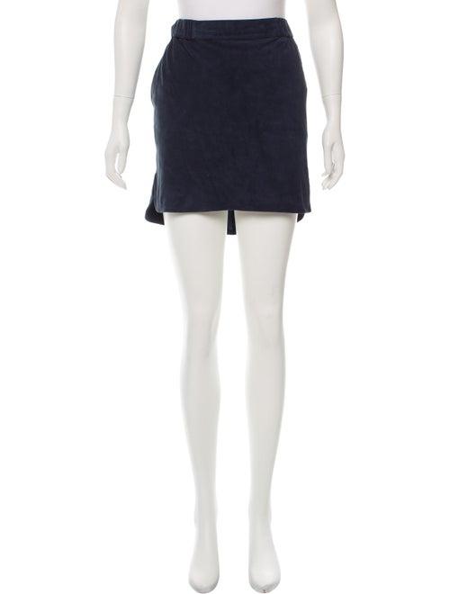 Yves Salomon Suede Mini Skirt Navy