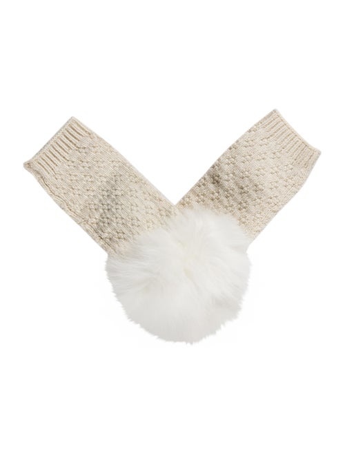 Yves Salomon Wool Blended Fingerless Gloves White