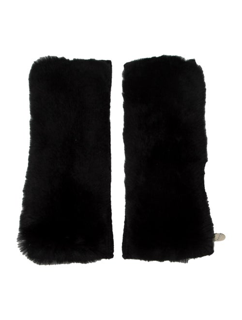 Yves Salomon Wool & Cashmere Fingerless Gloves Bla