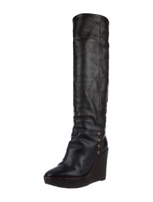 c52becbcbaa Yves Saint Laurent. Leather Shearling Lined Wedge Boots