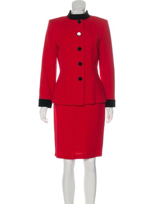 Yves Saint Laurent Wool Skirt Suit Red