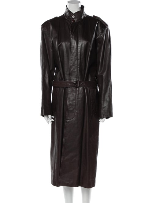 Yves Saint Laurent Leather Trench Coat Brown
