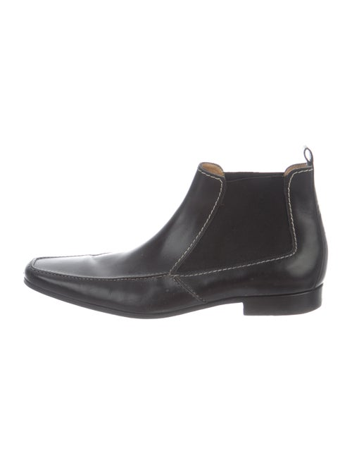 Yves Saint Laurent Leather Square-Toe Ankle Boots