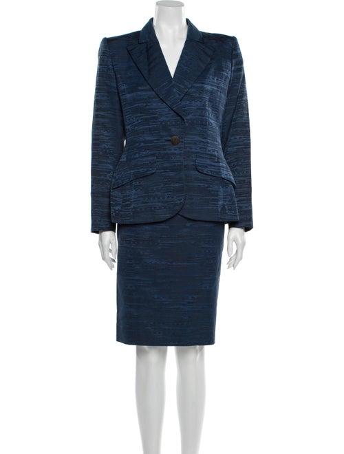 Yves Saint Laurent Printed Skirt Suit Blue